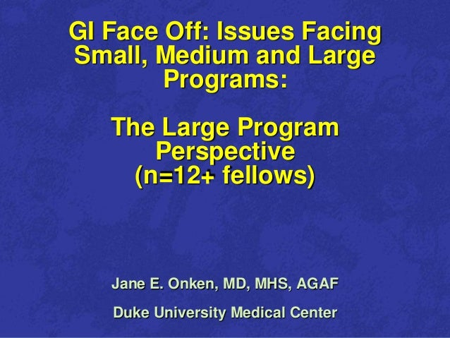 1    GI Face Off: Issues Facing    Small, Medium and Large            Programs:       The Large Program           Perspect...