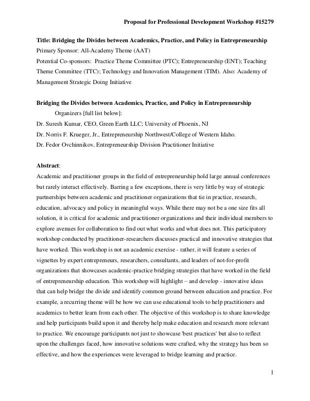 Proposal for Professional Development Workshop #15279Title: Bridging the Divides between Academics, Practice, and Policy i...