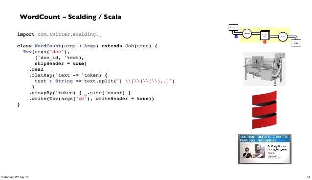 "import com.twitter.scalding._  class WordCount(args : Args) extends Job(args) { Tsv(args(""doc""), ('doc_id, 'text), skipHe..."
