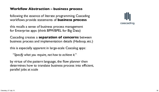 Workflow Abstraction – business process following the essence of literate programming, Cascading workflows provide statement...