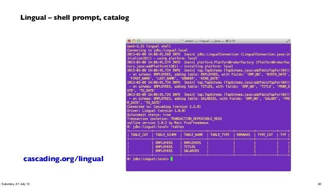 Lingual – shell prompt, catalog cascading.org/lingual 32Saturday, 27 July 13