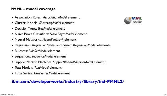 • Association Rules: AssociationModel element • Cluster Models: ClusteringModel element • Decision Trees: TreeModel elemen...