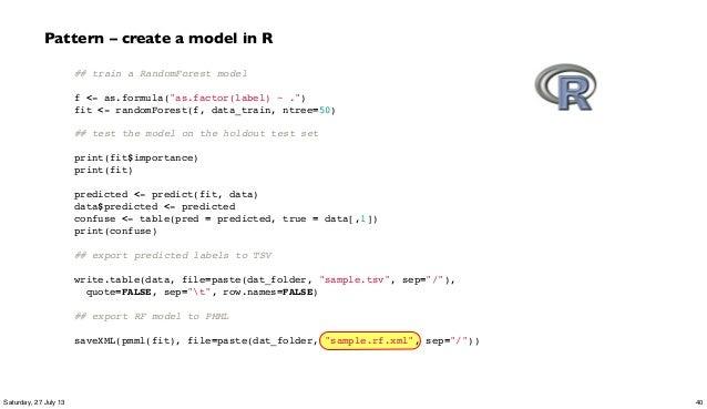 "## train a RandomForest model  f <- as.formula(""as.factor(label) ~ ."") fit <- randomForest(f, data_train, ntree=50)  ## ..."