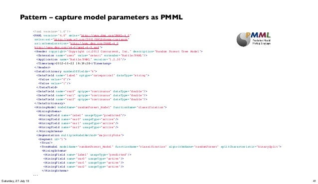 "<?xml version=""1.0""?> <PMML version=""4.0"" xmlns=""http://www.dmg.org/PMML-4_0"" xmlns:xsi=""http://www.w3.org/2001/XMLSchema..."