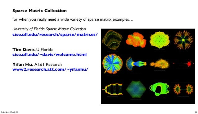 Sparse Matrix Collection for when you really need a wide variety of sparse matrix examples… University of Florida Sparse M...