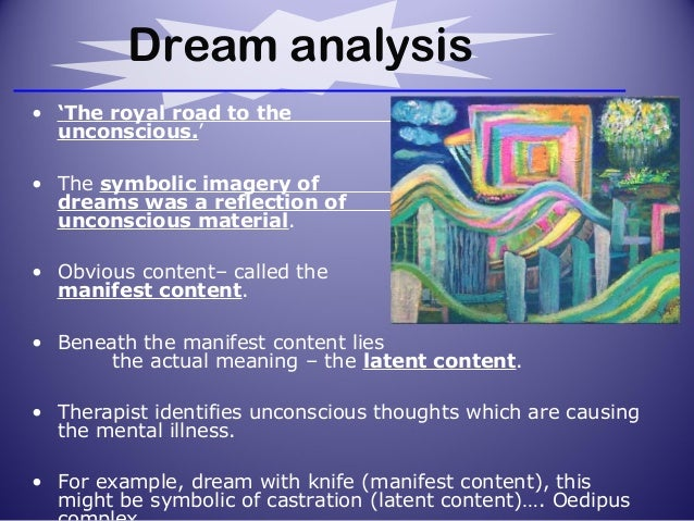 an analysis of the dreams as the royal road to the unconscious Dreams-the royal road to the unconscious-freud believed dreams expressed primary desires that the id has-the ego now expresses these hidden desires so that it can handle the stressful situation freudian slips-ego protects id because of unconscious desires hidden below the level of consciousness-id has unconscious desires and the ego releases this tension in a way that will not hurt others.