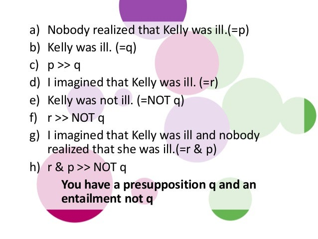 a) Nobody realized that Kelly was ill.(=p) b) Kelly was ill. (=q) c) p >> q d) I imagined that Kelly was ill. (=r) e) Kell...