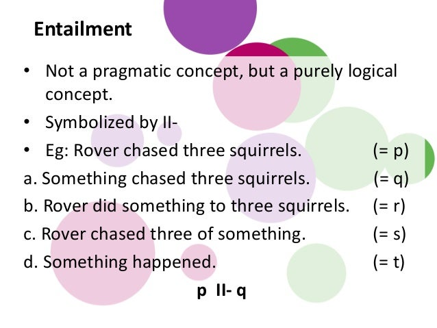 • Not a pragmatic concept, but a purely logical concept. • Symbolized by II- • Eg: Rover chased three squirrels. (= p) a. ...