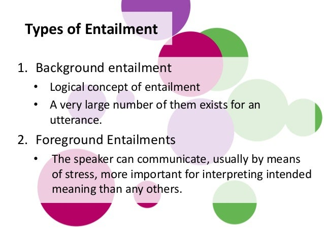 1. Background entailment • Logical concept of entailment • A very large number of them exists for an utterance. 2. Foregro...
