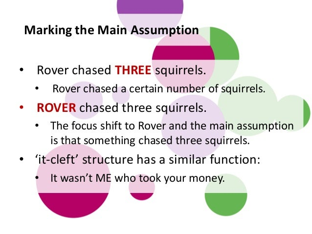 • Rover chased THREE squirrels. • Rover chased a certain number of squirrels. • ROVER chased three squirrels. • The focus ...