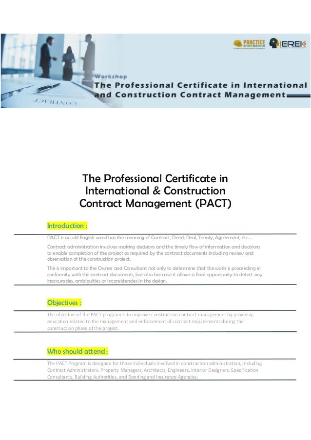 The Professional Certificate in International & Construction Contract…