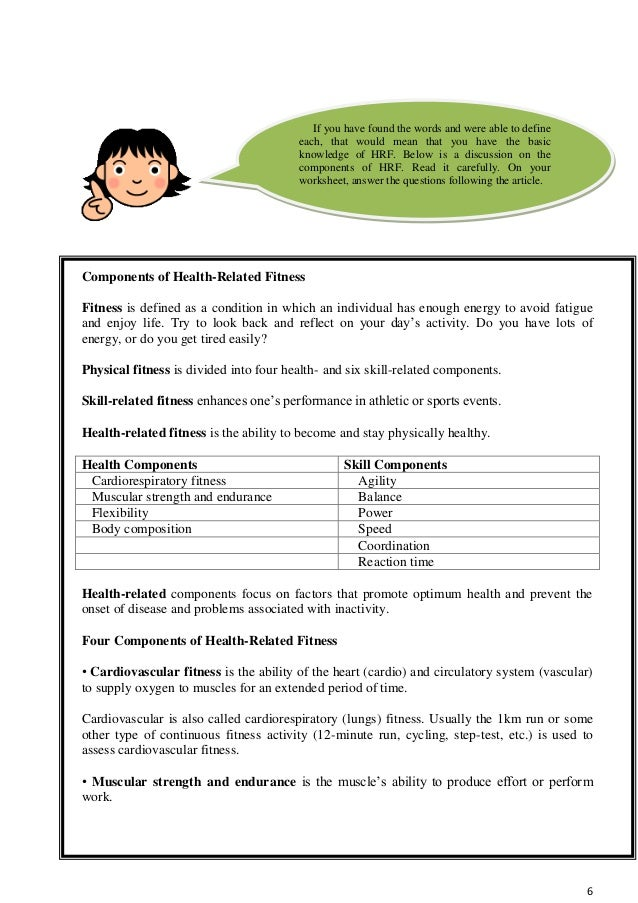 Health Related Fitness 6 6 Components