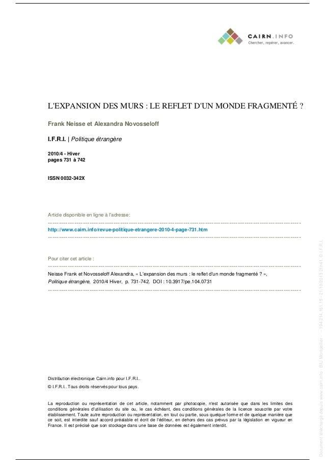 L'EXPANSION DES MURS : LE REFLET D'UN MONDE FRAGMENTÉ ? Frank Neisse et Alexandra Novosseloff I.F.R.I. | Politique étrangè...