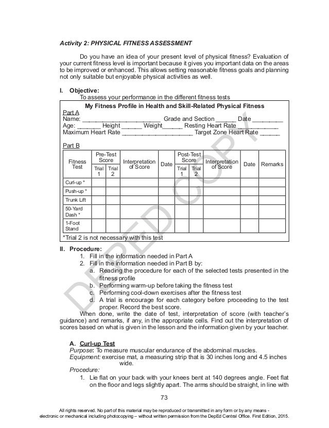 Fitness Assessment Form Senior Test Physical Fitness Assessment