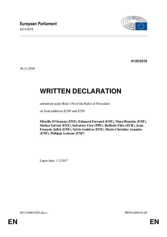 DC1109631EN.docx PE594.669v01-00 EN EN European Parliament 2014-2019 0125/2016 30.11.2016 WRITTEN DECLARATION submitted un...