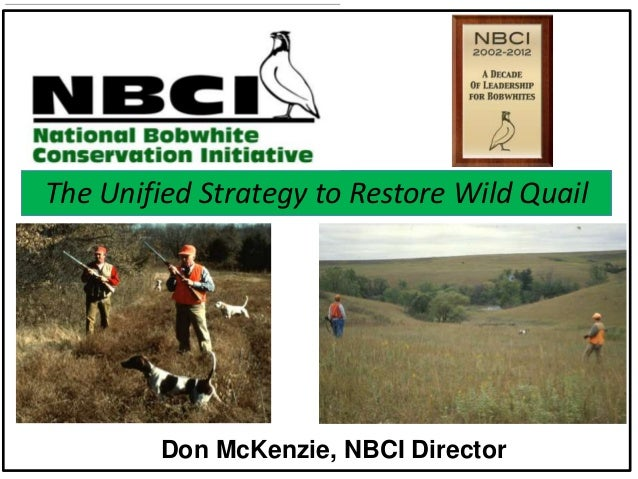 The Unified Strategy to Restore Wild Quail  Don McKenzie, NBCI Director