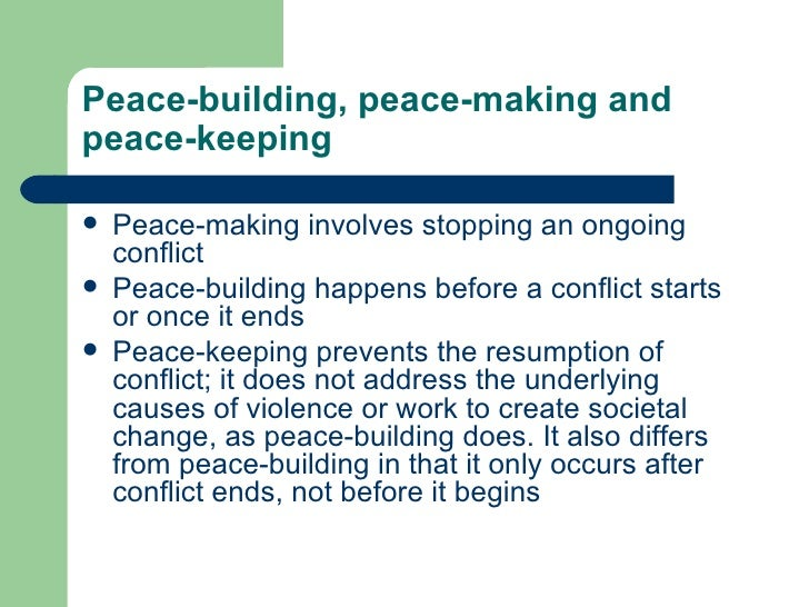 Peace building and community development essay