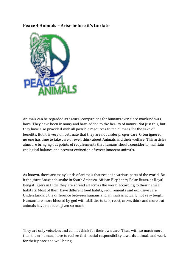 Peace 4 Animals Arise Before It S Too Late