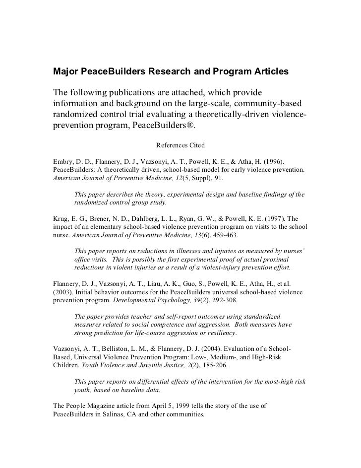 Major PeaceBuilders Research and Program Articles  The following publications are attached, which provide information and ...