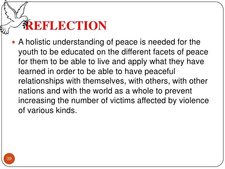 reflective essay on peace education