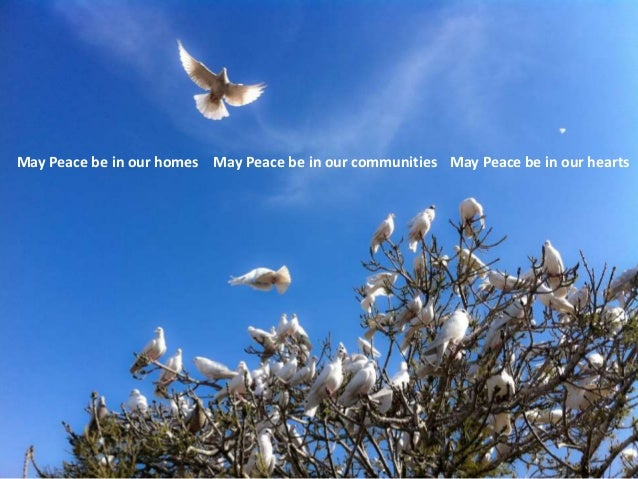 May Peace be in our homes May Peace be in our communities May Peace be in our hearts
