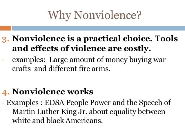 the impact of martin luther kings philosophy of non violence essay Dr martin luther king, jr, was a civil rights leader who followed the philosophy of change through nonviolence, based on the beliefs and methods of mahatma gandhi king promoted resisting racial discrimination through such actions as lunch-counter sit-ins, bus boycotts, and peaceful marches and demonstrations.