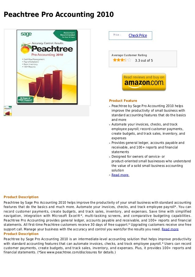 Peachtree Pro Accounting 2010                                                                      Price :                ...
