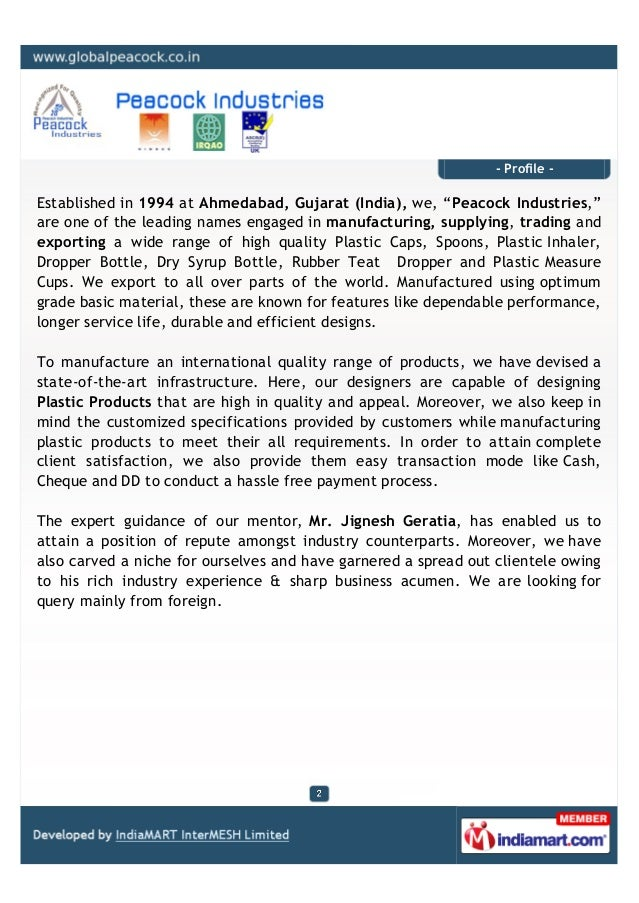Peacock Industries, Ahmedabad, Plastic Products Slide 2