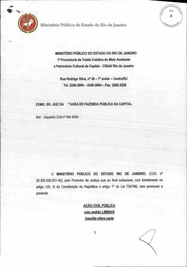 3  Ministério Público do Estado do Rio de Janeiro  MINISTÉRIO PÚBLICO DO ESTADO DO RIO DE JANEIRO 1° Promotoria de Tutela ...