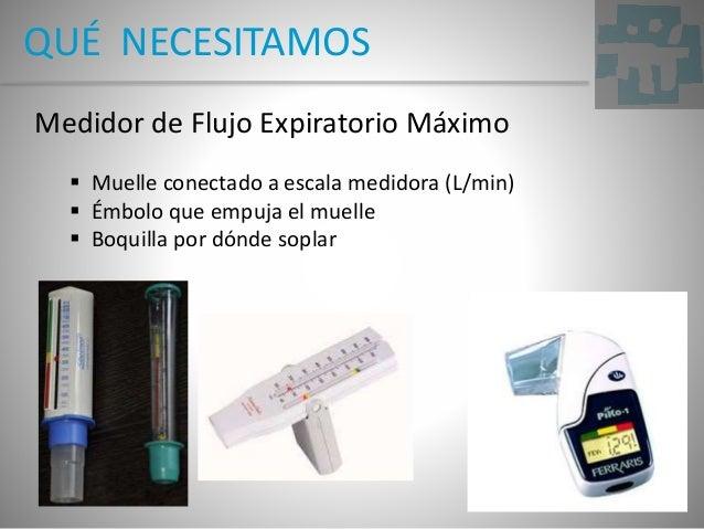 QUÉ NECESITAMOS Medidor de Flujo Expiratorio Máximo  Muelle conectado a escala medidora (L/min)  Émbolo que empuja el mu...