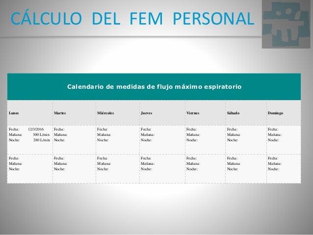 CÁLCULO DEL FEM PERSONAL Calendario de medidas de flujo máximo espiratorio Lunes Martes Miércoles Jueves Viernes Sábado Do...