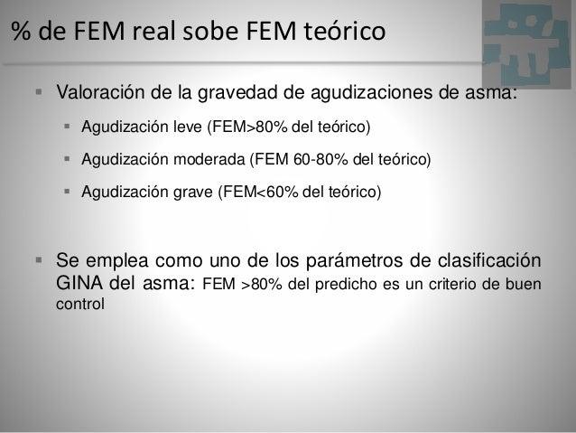 % de FEM real sobe FEM teórico  Valoración de la gravedad de agudizaciones de asma:  Agudización leve (FEM>80% del teóri...