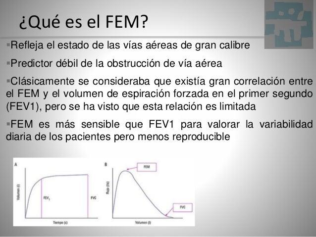 ¿Qué es el FEM? Refleja el estado de las vías aéreas de gran calibre Predictor débil de la obstrucción de vía aérea Clá...