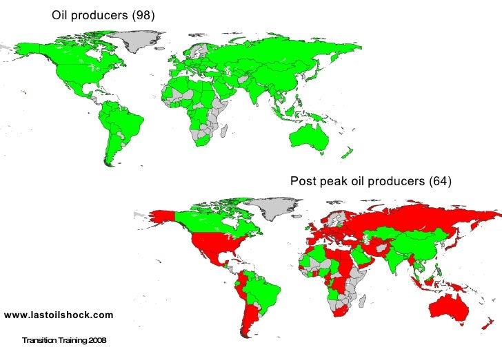 Post peak oil producers (64) www.lastoilshock.com Transition Training 2008 Oil producers (98)