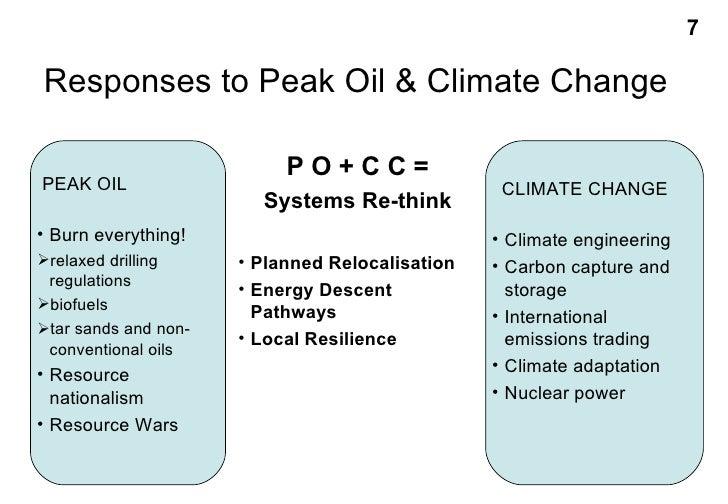 Responses to Peak Oil & Climate Change <ul><li>CLIMATE CHANGE </li></ul><ul><li>Climate engineering </li></ul><ul><li>Carb...