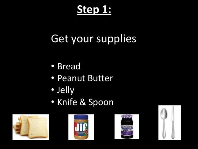 Step 2: Spread the peanut butter on the bread with a knife.