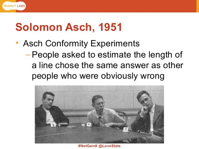 asch 1951 Asch (1951) believed that conformity was a rational process in which people work out how to behave from other peoples actions he.