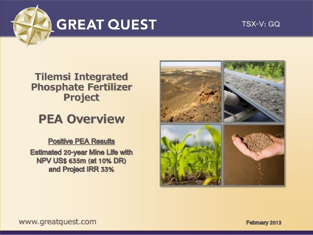 TSX-V: GQClick to edit Master title style    Tilemsi Integrated   Phosphate Fertilizer         Project     PEA Overview   ...