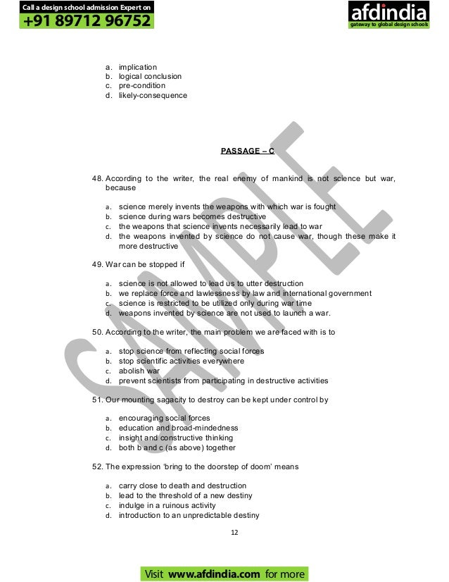 Pearl academy pg ma general profficiency test 2010