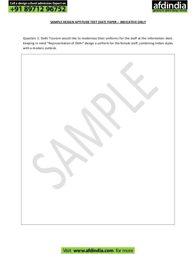 Pearl academy sample design aptitude test