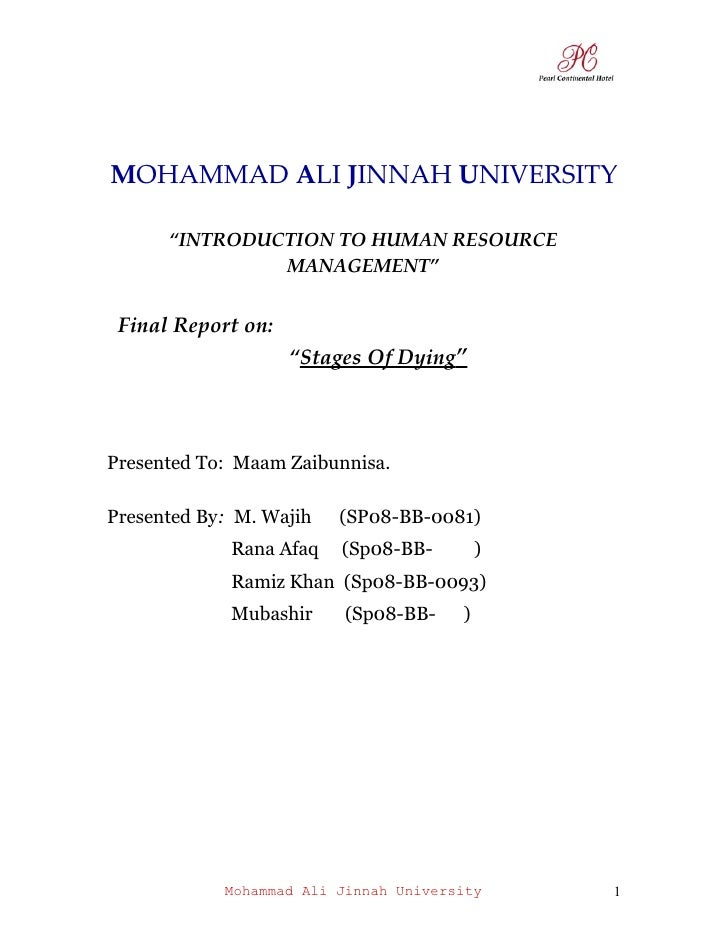 "MOHAMMAD ALI JINNAH UNIVERSITY        ""INTRODUCTION TO HUMAN RESOURCE                MANAGEMENT""    Final Report on:      ..."