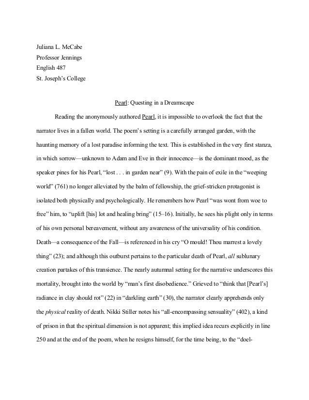 Juliana L. McCabe Professor Jennings English 487 St. Joseph's College  Pearl: Questing in a Dreamscape Reading the anonymo...