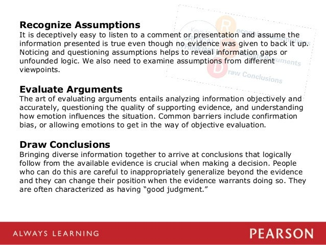 analyzing arguments critical thinking Argumentation theory,  containing six interrelated components for analyzing arguments:  blair, j anthony (1996) informal logic and critical thinking.