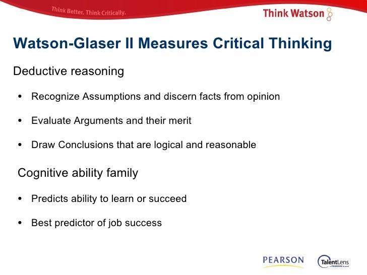 average score on watson-glaser critical thinking test Low average high percentile : 90 watson-glaser™ ii critical thinking appraisal profile report for more information on best practices for using test scores.