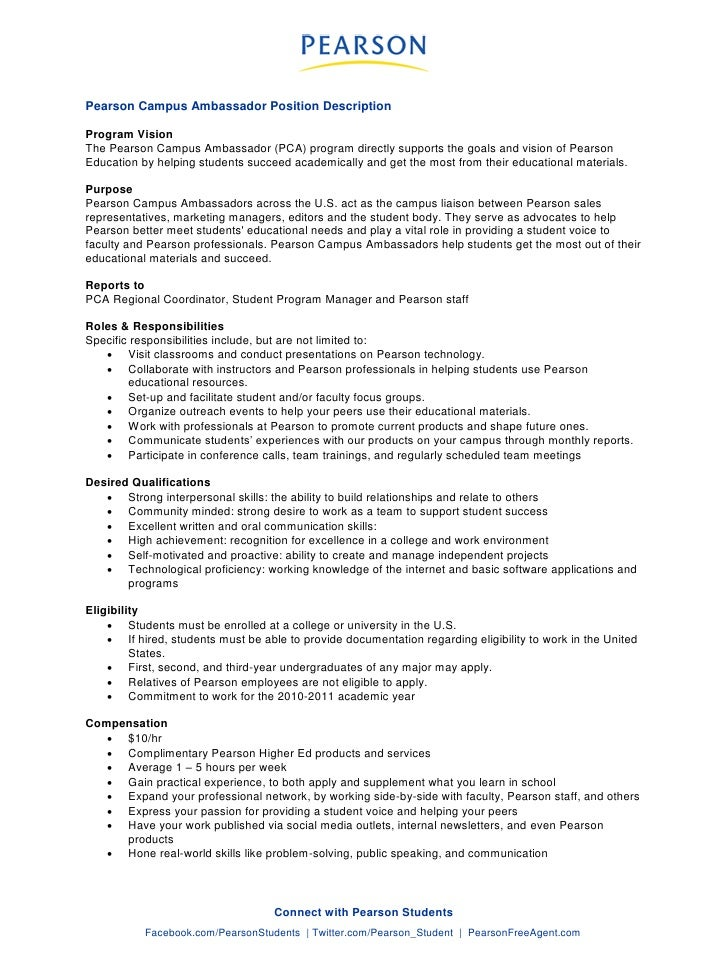 Superior Pearson Campus Ambassador Position Description Program Vision The Pearson  Campus Ambassador (PCA) Program Directly ...