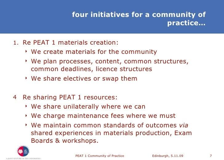 PEAT 1 Community of Practice, Meeting 2