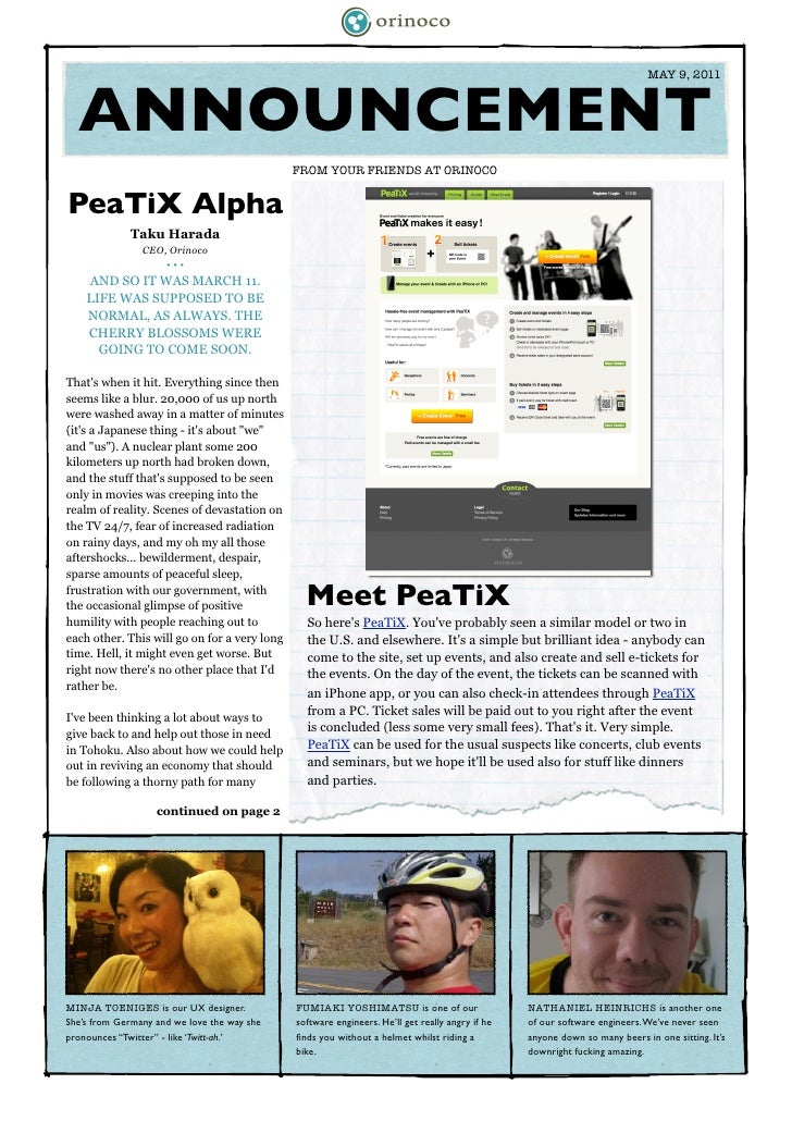 MAY 9, 2011     ANNOUNCEMENT	                                             FROM YOUR FRIENDS AT ORINOCOPeaTiX Alpha        ...