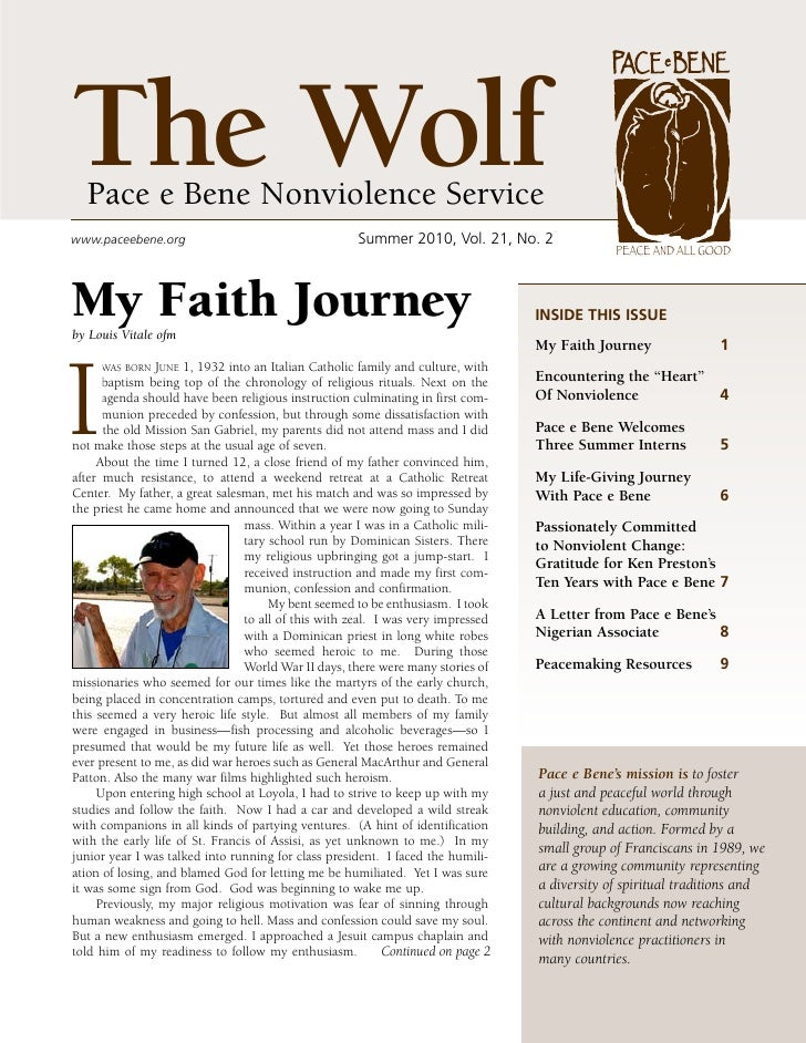 The Wolf   Pace e Bene Nonviolence Service www.paceebene.org                                    Summer2010,Vol.21,No.2    ...
