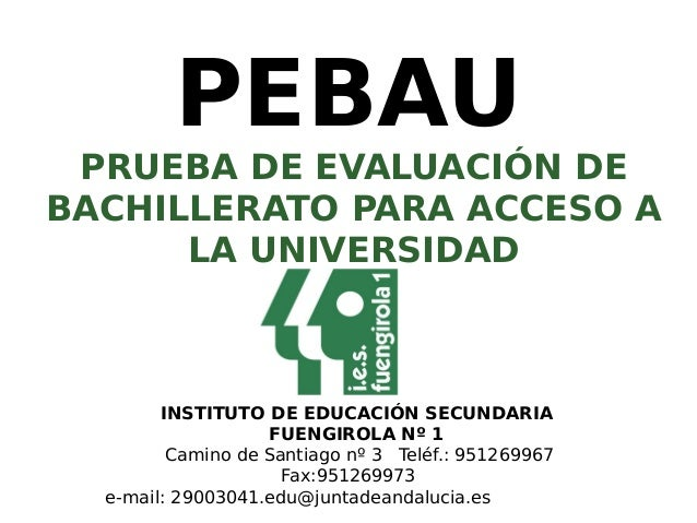 PEBAU PRUEBA DE EVALUACIÓN DE BACHILLERATO PARA ACCESO A LA UNIVERSIDAD INSTITUTO DE EDUCACIÓN SECUNDARIA FUENGIROLA Nº 1 ...