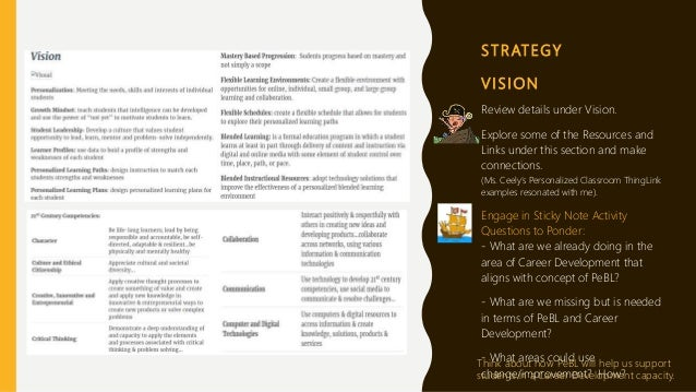 S T R AT E G Y V I S I O N Review details under Vision. Explore some of the Resources and Links under this section and mak...